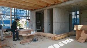 大阪府豊中市の鉄筋コンクリート+木造の住宅現場