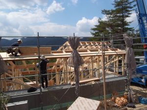 芦屋市斜面地の家 新築木造2階建て現場